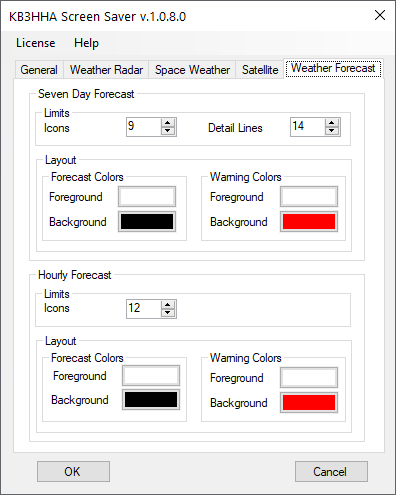 Weather forecast configuration tab