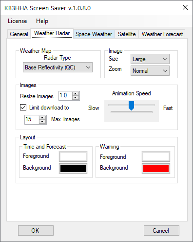 Weather radar configuration tab