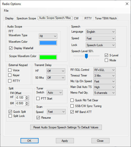 Audio scope options tab